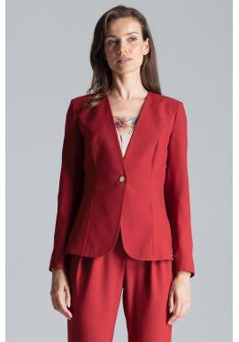 Klasické dámske sako bordovej farby s jedným gombíkom