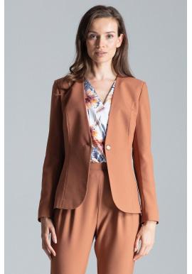 Dámske klasické sako s jedným gombíkom v hnedej farbe