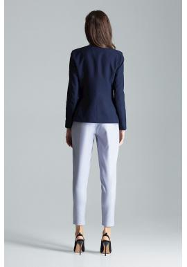 Tmavomodré klasické sako s jedným gombíkom pre dámy