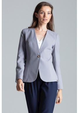 Klasické dámske sako sivej farby s jedným gombíkom