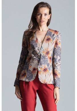 Béžové klasické sako so vzorom pre dámy
