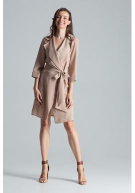Béžové voľné šaty s viazaním v páse pre dámy