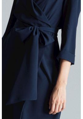 Dámske voľné šaty s viazaním v páse v tmavomodrej farbe