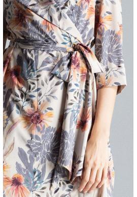 Dámske voľné šaty so vzorom v béžovej farbe