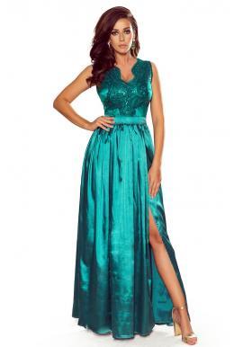 Dlhé dámske šaty zelenej farby s vyšívaným výstrihom