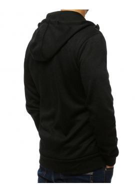 Čierna klasická mikina s kapucňou pre pánov