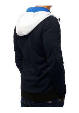 Módna pánska mikina tmavomodrej farby s kapucňou