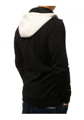 Pánska módna mikina s kapucňou v čiernej farbe
