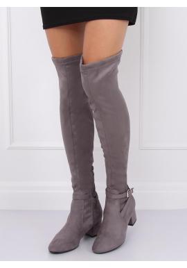 Dámske semišové čižmy nad kolená na nízkom opätku v sivej farbe