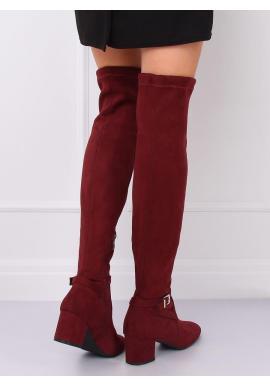 Bordové semišové čižmy nad kolená na nízkom opätku pre dámy