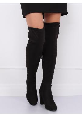 Dámske semišové čižmy nad kolená na opätku v čiernej farbe