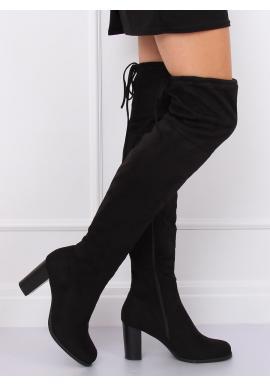 Čierne semišové čižmy nad kolená na opätku pre dámy