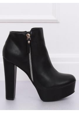 Dámske štýlové topánky na stabilnom podpätku v čiernej farbe