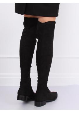 Semišové dámske čižmy nad kolená čiernej farby