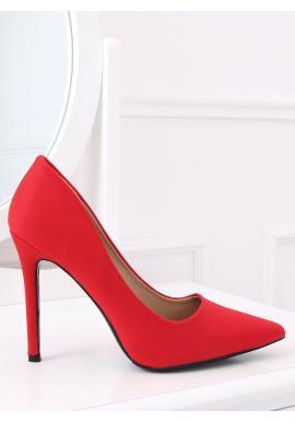 Elegantné dámske lodičky červenej farby na štíhlom podpätku