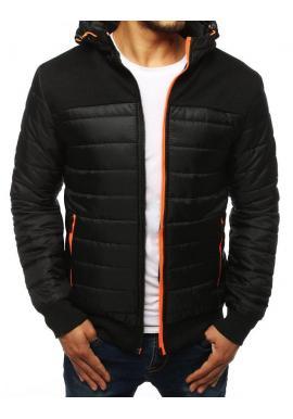 Prešívaná pánska bunda čiernej farby na jeseň