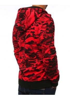 Červená maskáčová mikina s kapucňou pre pánov