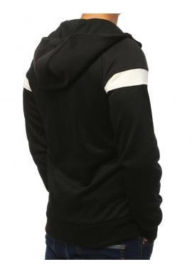 Športová pánska mikina čiernej farby s kapucňou
