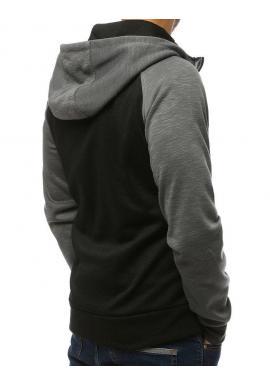Tmavosivá módna mikina s kapucňou pre pánov