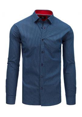Vzorovaná pánska košeľa tmavomodrej farby s dlhým rukávom