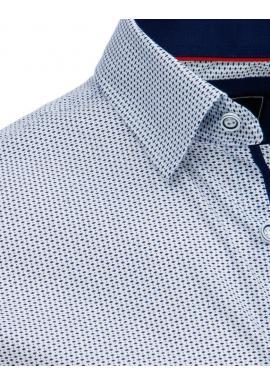 Biela vzorovaná košeľa s dlhým rukávom pre pánov