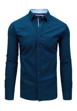 Pánska módna košeľa so vzorom v tmavomodrej farbe