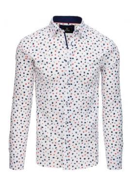 Biela módna košeľa s kvetmi pre pánov