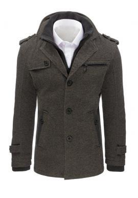 Módny pánsky kabát sivej farby s oteplenou podšívkou