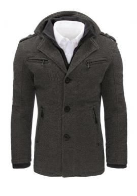 Sivý elegantný kabát s odopínacím golierom pre pánov