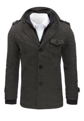 Pánsky módny kabát s oteplenou podšívkou v sivej farbe