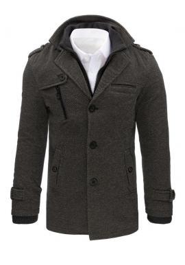 Elegantný pánsky kabát sivej farby s odopínacím golierom