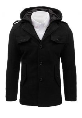 Pánsky jednoradový kabát s odopínacou kapucňou v čiernej farbe