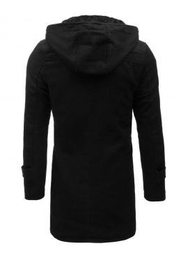 Dlhý pánsky kabát čiernej farby s odopínacou kapucňou