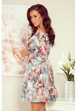 Sivé kvetované šaty s volánmi pre dámy