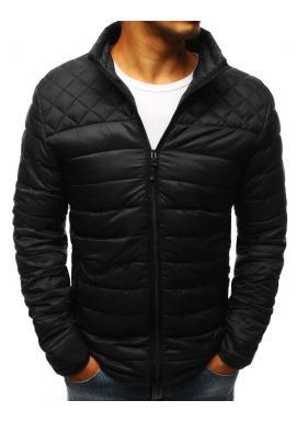 Čierna prešívaná bunda bez kapucne pre pánov
