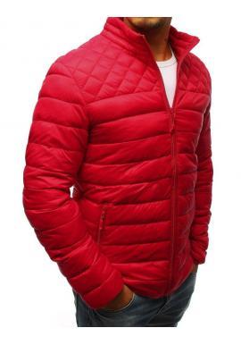 Prešívaná pánska bunda červenej farby bez kapucne