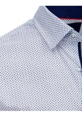 Biela módna košeľa so vzorom pre pánov