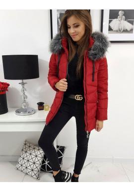 Červená prešívaná bunda s kapucňou pre dámy