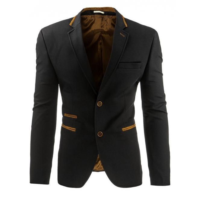 Sako pre pánov čiernej farby so záplatami na lakťoch