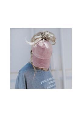 Zamatová dámska šiltovka ružovej farby