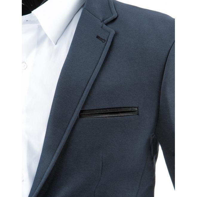 Neformálne sako so záplatami na lakťoch v tmavosivej farbe