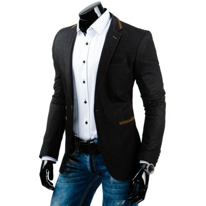 Elegantné sako so záplatami na lakťoch v čiernej farbe