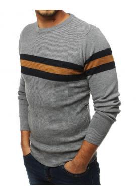 Svetlosivý klasický sveter s kontrastnými pásmi pre pánov