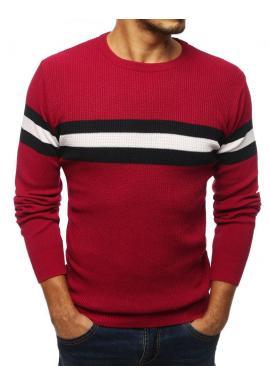 Pánsky klasický sveter s kontrastnými pásmi v bordovej farbe