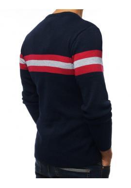 Klasický pánsky sveter tmavomodrej farby s kontrastnými pásmi