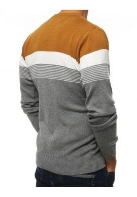 Sivý štýlový sveter s kontrastnými pásmi pre pánov