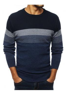 Pánsky štýlový sveter s kontrastnými pásmi v tmavomodrej farbe