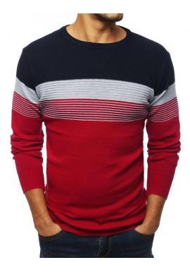 Štýlový pánsky sveter bordovo-modrej farby s kontrastnými pásmi
