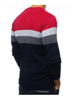 Modro-bordový štýlový sveter s kontrastnými pásmi pre pánov