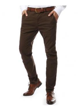Elegantné pánske nohavice chinos hnedej farby